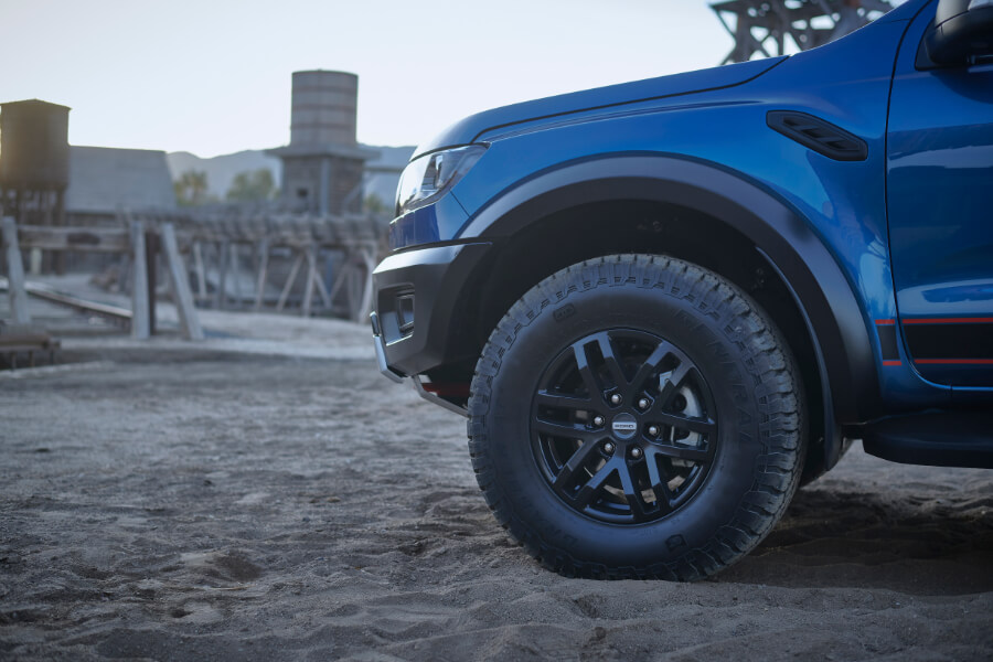 blue ranger raptor front wheel alloys sand
