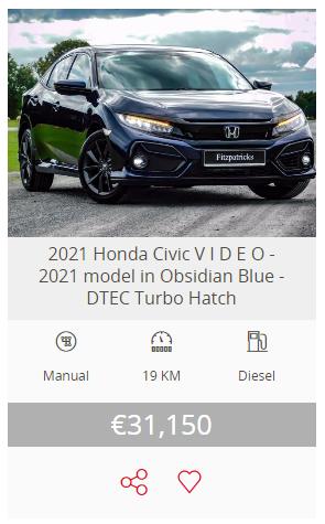 2021 (211) Honda Civic Hatchback 1.6 i-DTEC Smart Plus