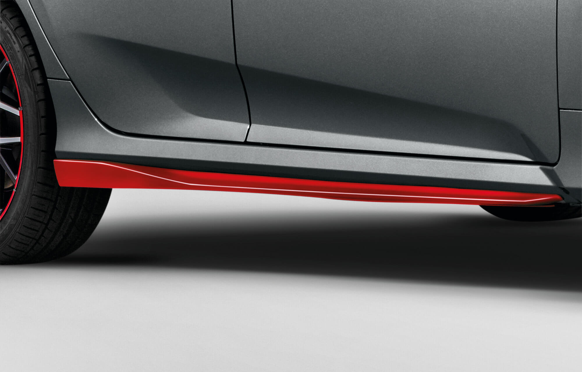 Honda Civic 5 Door Side Skirts - Rallye Red