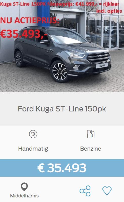 Ford Kuga ST-Line 150pk, was 41.993 en nu voor maar 35.493 euro!