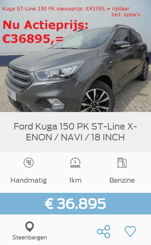 Ford Kuga ST-Line 150pk xenon navi 18 inch, was 43.395 euro en nu voor maar 36.895 euro