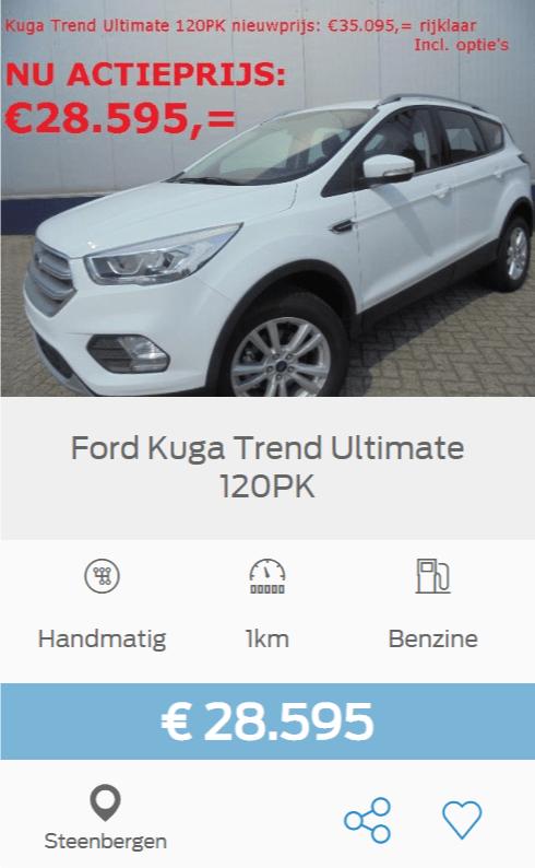 ford kuga trend ultimate 120pk rijklaar incl opties nu actieprijs 28595 euro