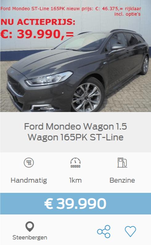 Ford Mondeo Stationwagon 1.5 165pk ST-Line was 46.375 nu voor maar 39.990 euro!