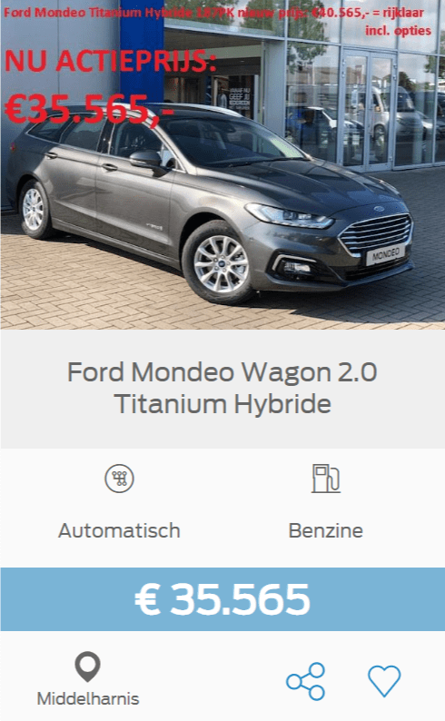 Ford Mondeo Stationwagon 2 Titanium Hybrid, was 40.565 euro en nu voor maar 35.565 euro