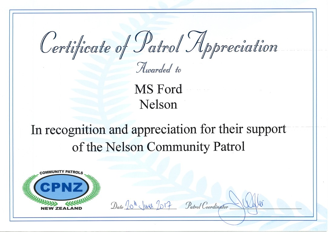 MS Ford Nelson Community Patrol Award