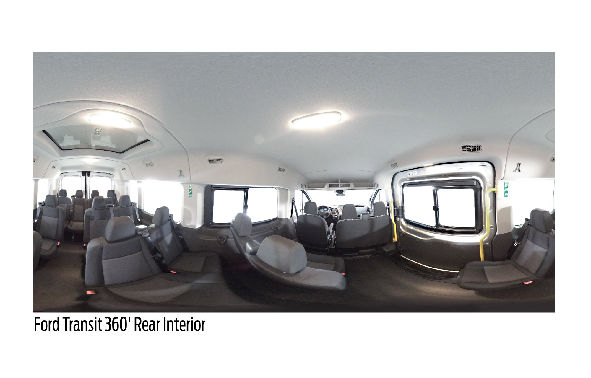 The Ford Transit spacious interior with enough room for 15 passengers.